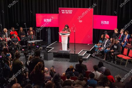 Diane Abbott takes the stand at the Bernie Grant Arts Centre in Tottenham to launch Labour's new Race and Faith manifesto