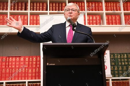 Former Australian prime minister Kevin Rudd speaks during the launch of the Quarterly Essay 'Red Flag, Waking up to China's challenge' written by Peter Hatcher at Parliament House in Canberra, Australian Capital Territory, Australia, 26 November 2019.