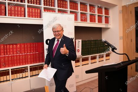 Former Australian prime minister Kevin Rudd attends the launch of the Quarterly Essay 'Red Flag, Waking up to China's challenge' at Parliament House in Canberra, Australian Capital Territory, Australia, 26 November 2019.