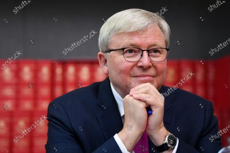 Former Australian Prime Minister Kevin Rudd attends the launch of the Quarterly Essay 'Red Flag, Waking up to China's challenge' written by Peter Hartcher at Parliament House in Canberra, Australian Capital Territory, Australia, 26 November 2019.