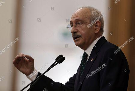 Turkey's main opposition Republican People's Party leader Kemal Kilicdaroglu addresses legislators at the Parliament, in Ankara, Turkey
