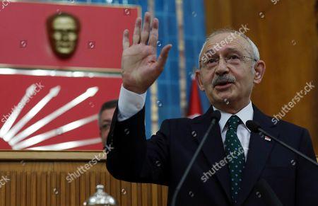 Turkey's main opposition Republican People's Party leader Kemal Kilicdaroglu addresses his legislators at the Parliament, in Ankara, Turkey