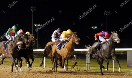 ROCKET ACTION (Tom Queally) beats CORINTHIA KNIGHT (centre) in The Betway Handicap Wolverhampton