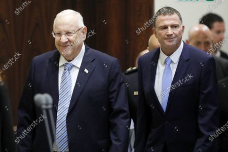 President of Israel Reuven Rivlin (L) and  Speaker of the Knesset Yuli Yoel Edelstein (R) attend the opening of the Winter session of the Israeli 'Knesset' parliament, in Jerusalem, Israel, 15 October 2018.
