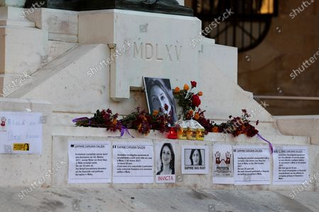 A memorial to Daphne Caruana Galizia at the Great Siege Monument in Valletta , Malta, 26 November 2019. People demonstrate in Valletta following the resignations of Minister Konrad Mizzi and Prime Minister Joseph Muscat's Head of Staff Keith Schembri and  Minister Chris Cardona suspending himself from any activities of his party (Partit Laburista) as Malta police investigations into the murder of late journalist Daphne Caruana Galizia in 2017 continue.