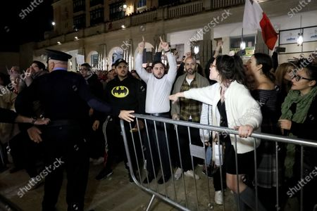 Demonstrators protest outside Malta's House of Parliament in Valletta, Malta, 26 November 2019 following the resignations of Minister Konrad Mizzi and Prime Minister Joseph Muscat's Head of Staff Keith Schembri and  Minister Chris Cardona suspending himself from any activities of his party (Partit Laburista) as Malta police investigations into the murder of late journalist Daphne Caruana Galizia in 2017 continue.