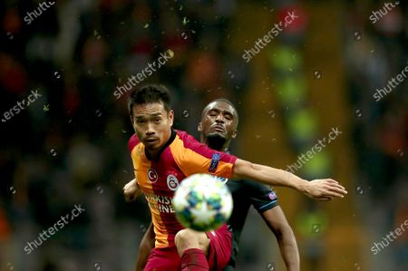 Club Brugge's Clinton Mata (back) in action Galatasaray's Yuto Nagatomo (front) during the UEFA Champions League group A soccer match between Galatasaray and Club Brugge in Istanbul, Turkey, 26 November 2019.