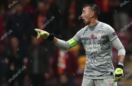 Galatasaray's Fernando Muslera reacts during the UEFA Champions League group A soccer match between Galatasaray and Club Brugge in Istanbul, Turkey, 26 November 2019.