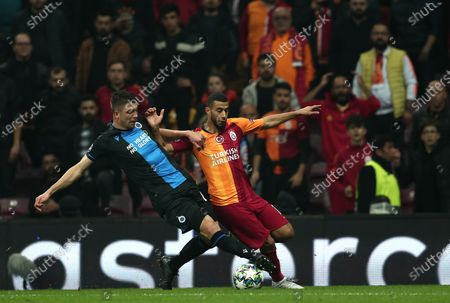 Club Brugge's Brandon Mechele (L) in action Galatasaray's Younes Belhanda (R) during the UEFA Champions League group A soccer match between Galatasaray and Club Brugge in Istanbul, Turkey, 26 November 2019.