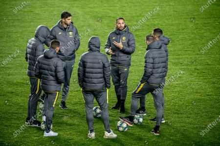 Inter's Danilo D'Ambrosio (3-R) and teammates attend a pitch inspection in Prague, Czech Republic, 26 November 2019. Inter Milan will face Slavia Prague in their UEFA Champions League Group F soccer match on 27 November 2019.