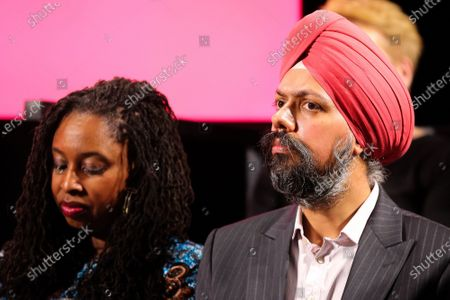 Shadow Women & Equalities Secretary, Dawn Butler (L) and Tanmanjeet Singh Dhesi, MP for Slough (R) seen during the launch of the Labour Party's Race and Faith Manifesto