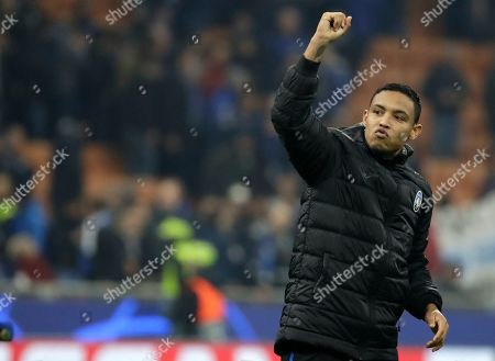 Stock Picture of Atalanta's Luis Muriel celebrates after the Champions League group C soccer match between Atalanta and Dinamo Zagreb at the San Siro stadium in Milan, Italy