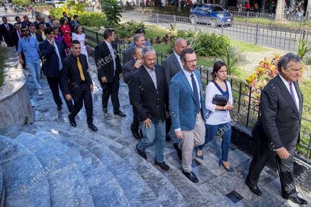 Ambassador of Spain in Venezuela, Jesus Silva (R); walks along with Javier Maroto, spokesman for the PP in the Spanish Senate; Jose Ignacio Echaniz, deputy spokesman of the PP in Congress; Valentina Martinez, secretary of International Relations of the PP and Belen Hoyo, President of the National Electoral Committee of the PP, after taking part in the session of the day in the Venezuelan National Assembly, in the hemicycle of sessions of the organization, after the event 'World parliamentary meeting for democracy', in Caracas, Venezuela, 26 November 2019. The intervention by surprise in the Venezuelan National Assembly (AN) of Spanish senator Javier Maroto and deputy Jose Ignacio Echaniz, both of the Popular Party (PP, right), unleashed a altercation between opposition and official deputies that ended in insults Among congressmen.