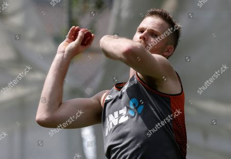 New Zealand's Lockie Ferguson bowls during a training session ahead of the second cricket test between England and New Zealand at Seddon Park in Hamilton, New Zealand