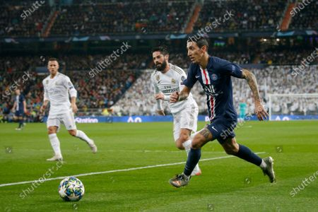 Angel Di Maria of PSG and Isco of Real Madrid