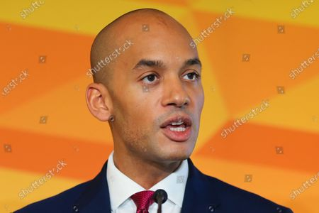 Liberal Democrat Foreign Affairs Spokesman and candidate of Cities of London & Westminster, Chuka Umunna speaks at Watford Football Club on Liberal Democrat foreign policy ahead of the NATO Leaders Conference