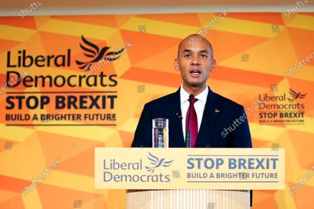 Liberal Democrat Foreign Affairs Spokesman and candidate of Cities of London & Westminster, Chuka Umunna speaks at Watford Football Club on Liberal Democrat foreign policy ahead of the NATO Leaders Conference.