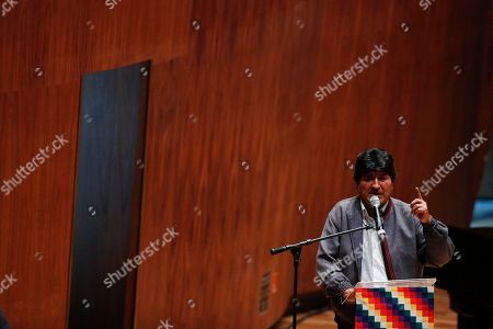 Bolivia's former President Evo Morales addresses students and members of indigenous communities at Ollin Yoliztli Cultural Center in Mexico City