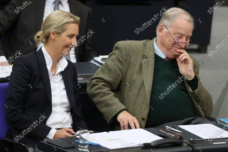 Alternative for Germany (AfD) right-wing populist party faction co-chairwoman in the German parliament Bundestag Alice Weidel (L) and Federal co-chairman of the Alternative for Germany (AfD) right-wing populist party Alexander Gauland (R) talk during a session of the German parliament 'Bundestag' in Berlin, Germany, 27 November 2019. Members of Bundestag debate on the government policy.