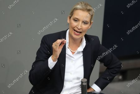 Alternative for Germany (AfD) right-wing populist party faction co-chairwoman in the German parliament Bundestag Alice Weidel speaks during a session of the German parliament 'Bundestag' in Berlin, Germany, 27 November 2019. Members of Bundestag debate on the government policy.