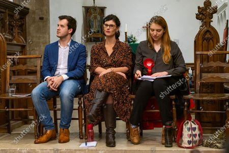 (L-R) James Fredrickson (Con. PPC), Layla Moran (LibDem PPC), Rosie Sourbut (Labour PPC) at St. Michael at the North Gate Church, Oxford
