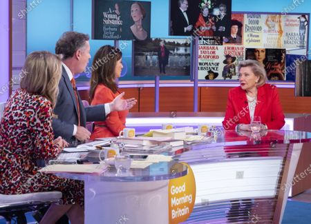 Charlotte Hawkins, Piers Morgan and Susanna Reid with Barbara Taylor Bradford