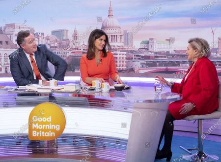 Piers Morgan and Susanna Reid with Barbara Taylor Bradford