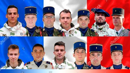 Stock Picture of This combination image provided by the French Defense Ministry Communication service (DICOD) shows the 13 French soldiers killed in Mali Tuesday after two helicopters collided. From top left: Valentin Duval, Pierre Bockel, Julien Carette, Romain Chomel de Jarnieu, Benjamin Gireud, Jeremy Leusie, Andrei Jouk. From lower left: Antoine Serre, Romain Salles de Saint Paul, Alexandre Protin, Alex Morisse, Nicolas Megard, and Clement Frisonroche