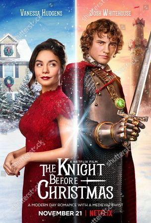 Stock Image of The Knight Before Christmas (2019) Poster Art. Vanessa Hudgens as Brooke and Josh Whitehouse as Sir Cole