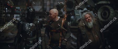 Pedro Pascal as The Mandalorian, Bill Burr as Mayfeld and Mark Boone Junior as Ranzar Malk