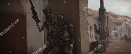 Taika Waititi and Rio Hackford as IG-11 and Pedro Pascal as The Mandalorian