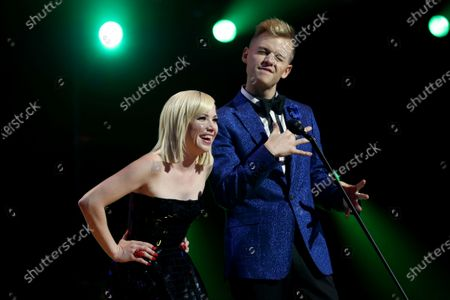 Carly Rae Jepson (L) and Joel Creasey present the ARIA for Best Pop Release during the 33rd Annual ARIA Music Awards at The Star in Sydney, Australia, 27 November 2019.