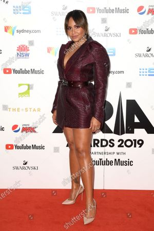 Jessica Mauboy arrives for the 33rd Annual ARIA Music Awards at The Star in Sydney, Australia, 27 November 2019.