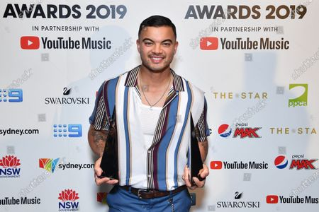 Guy Sebastian poses for a photograph after winning the Best Video and Song Of The Year awards during the 33rd Annual ARIA Music Awards at The Star in Sydney, Australia, 27 November 2019.