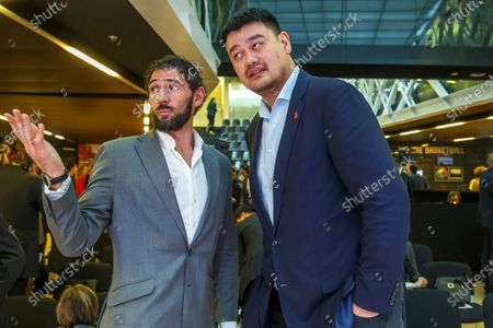 Spanish Basketball Federation president Jorge Garbajosa (L) and China's Basketball Federation president Yao Ming (R) attend the FIBA Olympic Qualifying Tournaments 2020 draw at the headquarters of the International Basketball Federation (FIBA) in Mies, Switzerland, 27 November 2019.
