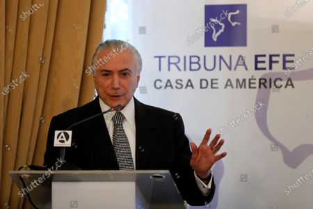Former Brazilian President Michel Temer takes part in a conference held by Spanish EFE news agency and Casa America in Madrid, Spain, 27 November 2019.