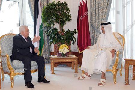 Palestinian President Mahmoud Abbas meets with Emir of Qatar, Sheikh Tamim bin Hamad Al Thani, in Doha