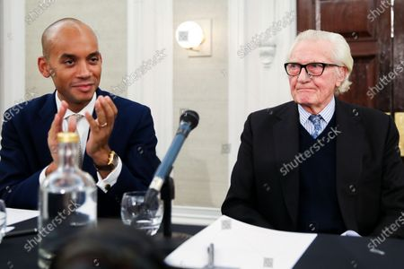 Liberal Democrat Foreign Affairs Spokesman and candidate for Cities of London & Westminster Chuka Umunna (L) and Former Conservative Deputy Prime Minister, Michael Heseltine (R) in De Vere Grand Connaught Rooms, Holborn. Britons go to the polls on 12 December in a General Election.