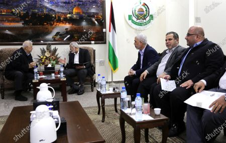 Palestinian Hamas chief in the Gaza strip, Ismail Haniyeh, meets with Chairman of the Palestinian Central Election Committee Hanna Nasser in Gaza city