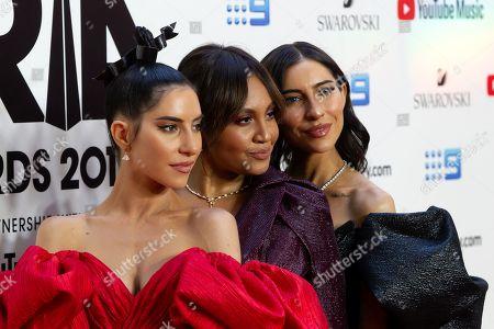 Lisa Origliasso and Jessica Origliasso of The Veronicas and Jessica Mauboy