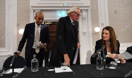 Expelled Conservative politician Michael Heseltine (C), Monica Harding (R) and candidate for the Liberal Democrats Chuka Umunna (L) speak to reporters during a Liberal Democrats press conference in central London, Britain, 27 November 2019. Britons go to the poll on 12 December 2019.