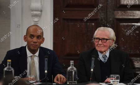 Expelled Conservative politician Michael Heseltine (R) and candidate for the Liberal Democrats Chuka Umunna (L) speak to reporters during a Liberal Democrats press conference in central London, Britain, 27 November 2019. Britons go to the poll on 12 December 2019.