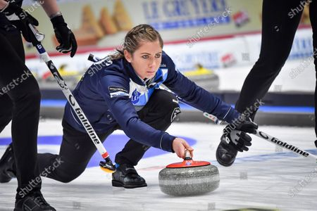 Scotland's skip Eve Muirhead plays the last winning stone during the Women's semifinal between Scotland and Switzerland at the European Curling Championships
