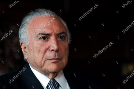 Former Brazilian President Michel Temer speaks during an interview with Spanish international news agency Efe at Casa America in Madrid, Spain, 27 November 2019.