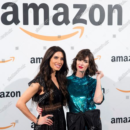 Pilar Rubio (L) and actress Paz Vega (R) poses during the pop-up Amazon event to celebrate the Black Friday at the Callao City Lights building in Madrid, Spain, 27 November 2019.