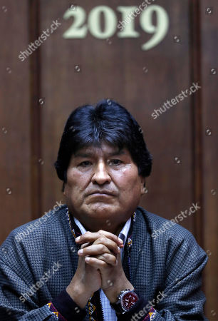 Bolivia's former President Evo Morales holds a press conference at the journalists club in Mexico City