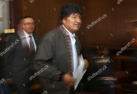 Bolivia's former President Evo Morales arrives at a press conference at the journalists club in Mexico City