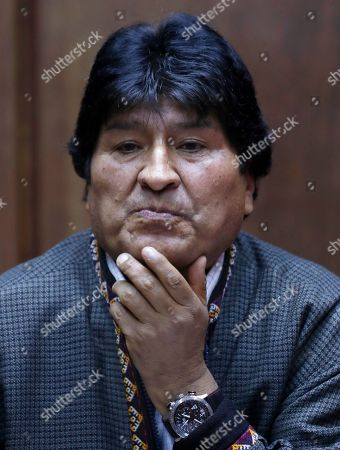 Bolivia's former President Evo Morales attends a press conference at the journalists' club in Mexico City