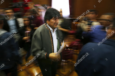 Bolivia's former President Evo Morales leaves after attending a press conference at the journalists' club in Mexico City, . Morales went into exile in Mexico after he was prodded by police and the military, forcing him to resigned on Nov. 10, after he claimed victory in an election that international observers invited in by the government said was marred by numerous irregularities