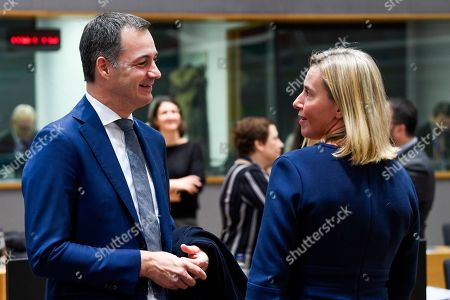Belgium's Minister for Development Alexander De Croo and European Union foreign policy chief Federica Mogherini